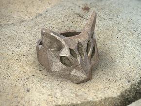 Polygonal cat ring: size 11 (US) W (UK) in Polished Bronze Steel