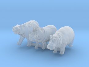 1:120 hippo set of 3 in Smooth Fine Detail Plastic