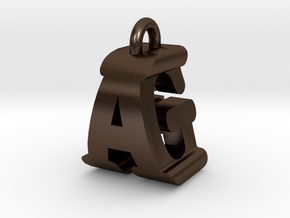 3D-Initial-AG in Polished Bronze Steel