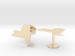 New York State Cufflinks in 14k Gold Plated Brass