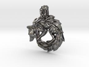 Fox Pendant in Polished Nickel Steel