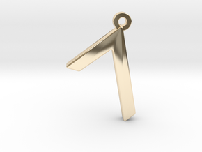 Letter GIMEL - Paleo Hebrew - With Chain Loop in 14K Yellow Gold