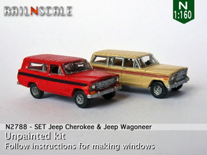 SET Jeep Cherokee & Jeep Wagoneer (N 1:160) in Smooth Fine Detail Plastic