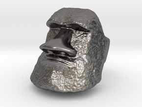 Serious Moai Ring in Polished Nickel Steel