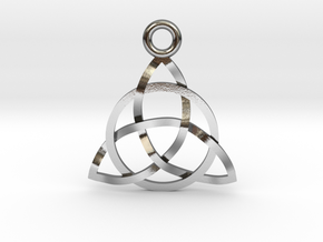 """Triquerta Pendant 1"""" in Polished Silver"""