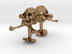 Skull And Crossbones Cufflinks in Natural Brass