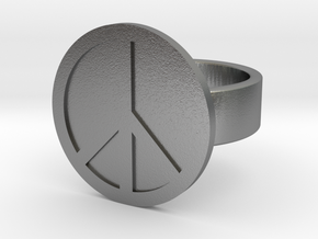Peace Ring in Natural Silver: 8 / 56.75