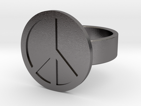 Peace Ring in Polished Nickel Steel: 10 / 61.5