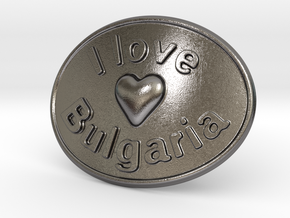 I Love Bulgaria Belt Buckle in Polished Nickel Steel