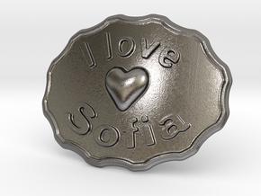I Love Sofia Belt Buckle in Polished Nickel Steel