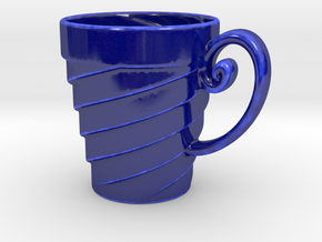 5-Spiral Mug in Gloss Cobalt Blue Porcelain