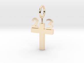 Custom 23 Cross Pendant in 14K Yellow Gold