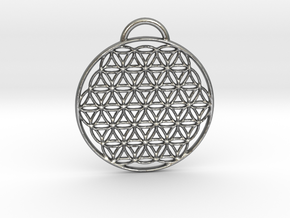 Flower of Life Pendant in Natural Silver