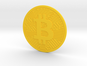 Bitcoin (2.25 Inches) in Yellow Processed Versatile Plastic