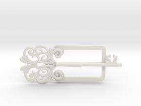 Clamp with an ancient beautiful key in White Natural Versatile Plastic