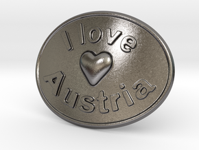 I Love Austria Belt Buckle in Polished Nickel Steel