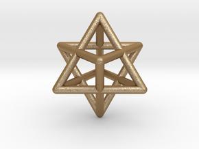 Merkaba Pendant Sacred Geometry Star Tetrahedron in Matte Gold Steel