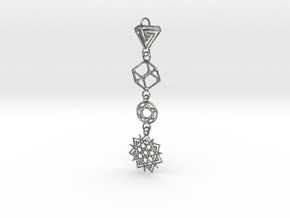 Interlocking 4 Symbols Pendant   in Natural Silver (Interlocking Parts)