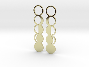 Moon Phase Earrings in 18k Gold Plated Brass