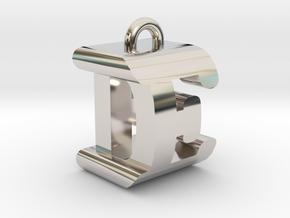 3D-Initial-DE in Rhodium Plated Brass