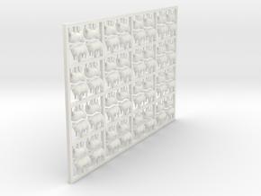 Sheep - Head Raised X 64 - HO in White Natural Versatile Plastic