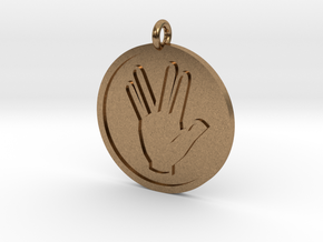 Vulcan Salute Pendant in Natural Brass