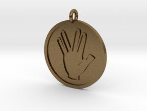 Vulcan Salute Pendant in Natural Bronze