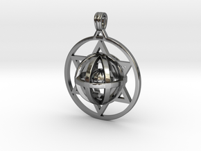 Ball In Star Of David pendant in Fine Detail Polished Silver