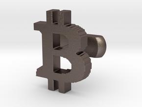 Bitcoin Cufflink in Polished Bronzed Silver Steel