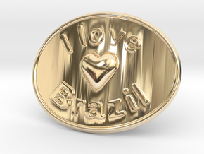 I Love Brazil Belt Buckle in 14K Yellow Gold