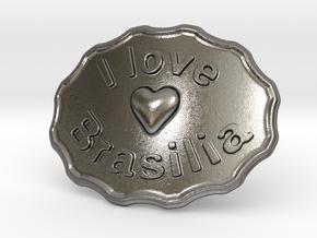 I Love Brasilia Belt Buckle in Polished Nickel Steel