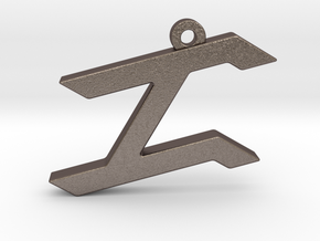 Letter ZAYIN - Paleo Hebrew -  With Chain Loop in Polished Bronzed Silver Steel