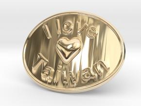 I Love Taiwan Belt Buckle in 14K Yellow Gold