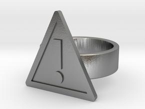 Warning Sign Ring in Natural Silver: 8 / 56.75