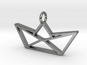 Paper Boat Pendant in Fine Detail Polished Silver