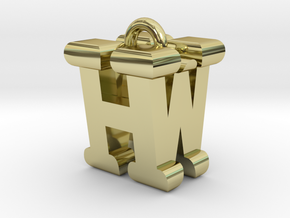 3D-Initial-HW in 18k Gold Plated Brass