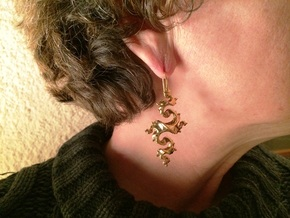 Dragon Earrings with integrated hooks - 5cm in 14k Gold Plated Brass