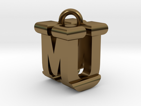 3D-Initial-MU in Polished Bronze