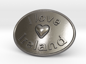 I Love Ireland Belt Buckle in Polished Nickel Steel