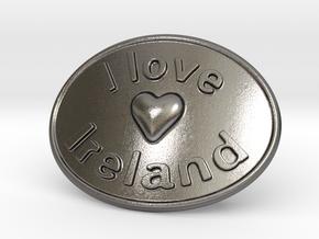 I Love Ireland Belt Buckle in Polished Nickel Steel