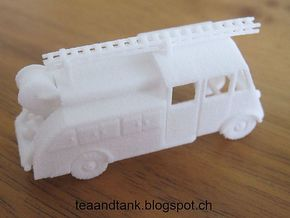 1/144 Renault AHN Fire Truck set of 2 in White Strong & Flexible