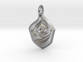 Rose Pendant in Natural Silver