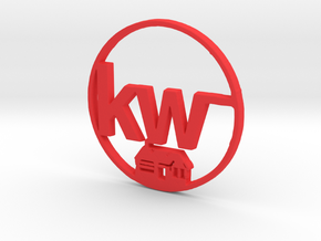 Kw key chain in Red Processed Versatile Plastic