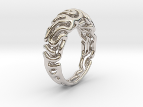 Reaction Diffusion Ring 5 (size 60) in Rhodium Plated Brass
