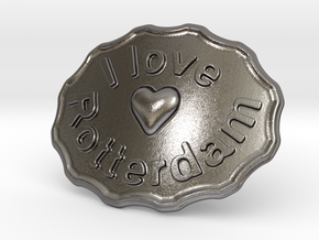 I Love Rotterdam Belt Buckle in Polished Nickel Steel