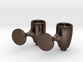 Jet Engine Cufflink in Polished Bronze Steel