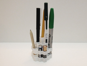 Hex Pen Holder 2 - Plastic in White Strong & Flexible