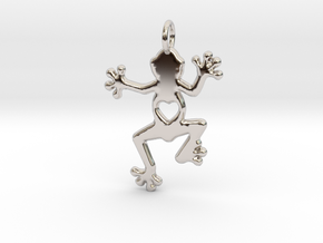 Tree frog pendant in Rhodium Plated Brass