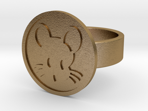 Mouse Ring in Polished Gold Steel: 10 / 61.5