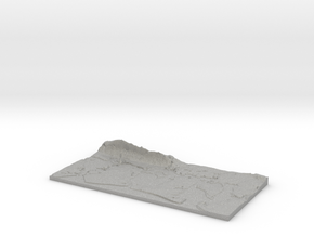 3D Relief map of Portsmouth, Langstone and Chiches in Aluminum